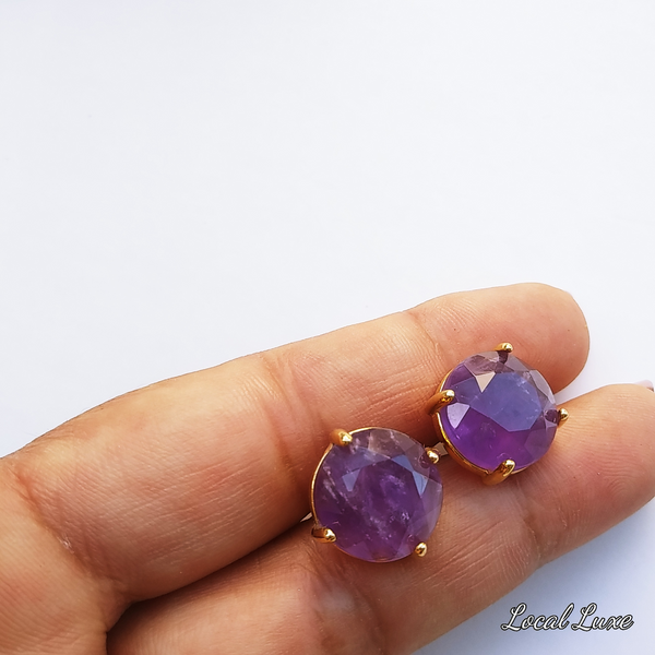 Amethyst Statement Stud earrings