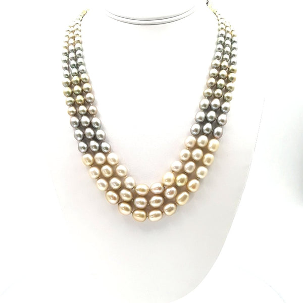 Pearl Sterling Multi Strand Necklace  - 20-22 inch