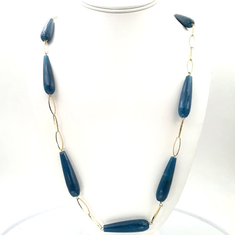 'Teal-y Dan' - Blue Quartz briolettes Stationed in elongated, Link Necklace  - 32 inch