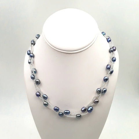 Blue'ish Grey Pearl   Multi Strand Necklace  - 18 inch