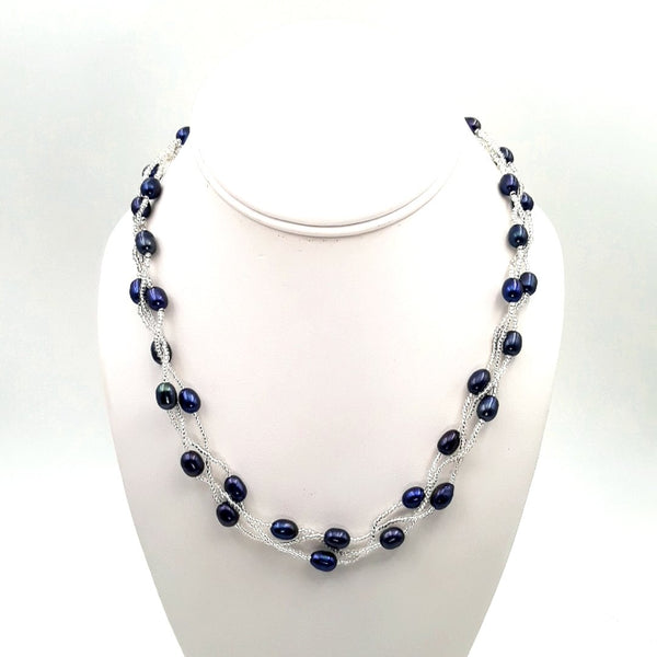 Blue'ish Purple Pearl   Multi Strand, Station Necklace  - 18 inch