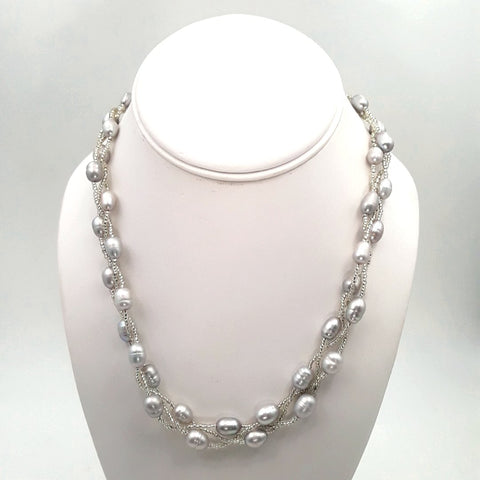 Grey'ish Pearl   Multi Strand, Station Necklace  - 18 inch