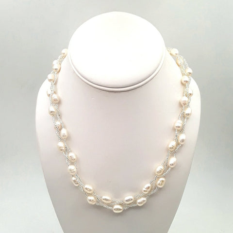 White Pearl   Multi Strand, Station Necklace  - 18 inch