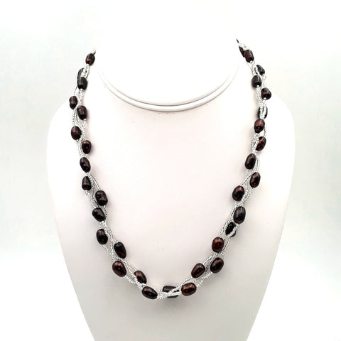 Bronze Purple Pearls   Multi Strand, Station Necklace  - 18 inch