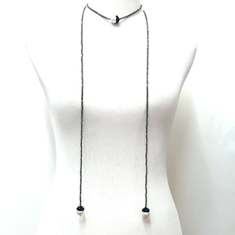Baroque Pearl and Hematite  Lariat Necklace  - Over 60 inch