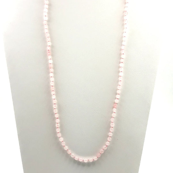 Pink Gemstone  Individually Knotted, Gem Strand Necklace  - 34 inch