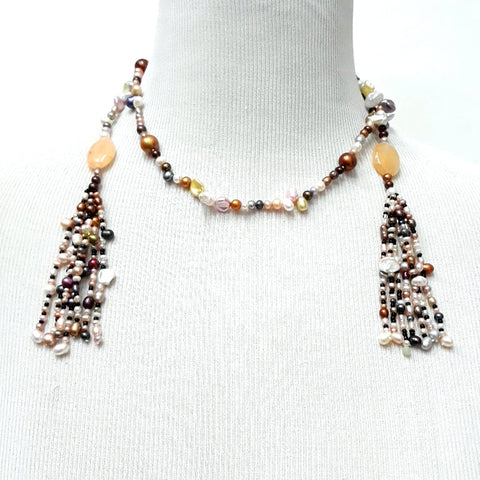 Multi Color Pearl Tassel Lariat Necklace  - 34 inch