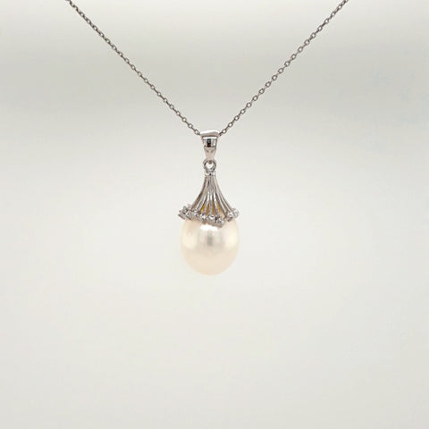 White Pearl Sterling Pendant with Chain Pendant  - 20 inch