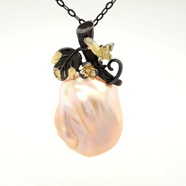 """Enchanted Forest"" -Off White Baroque Pearl  Pendant with Chain Pendant  - 16 inch"