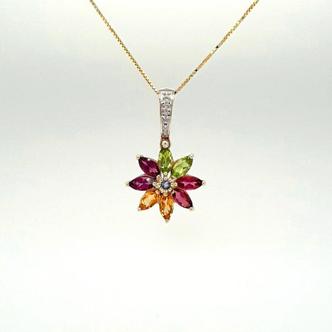 Multi Color Multi Gemstone  Gold Pendant with Chain Pendant  - 18 inch