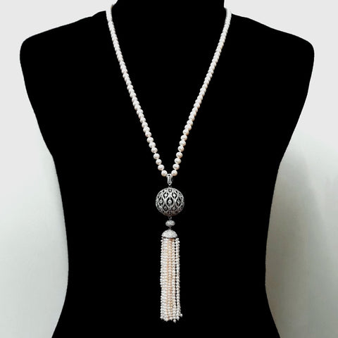 Pearl Tassel Sterling Individually Knotted, Tassel Necklace  - 32 inch