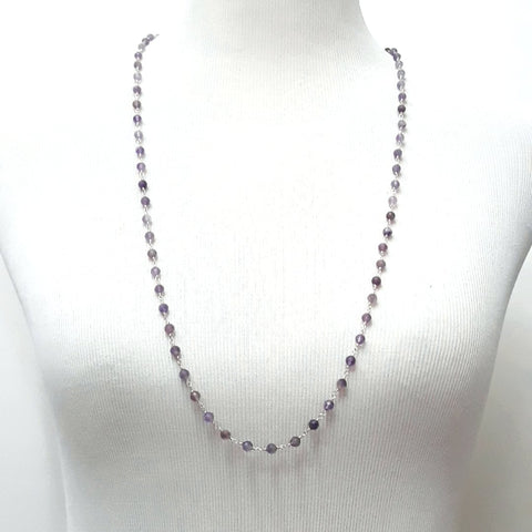 Amethyst Sterling Rosary Knotted Necklace  - 34 inch