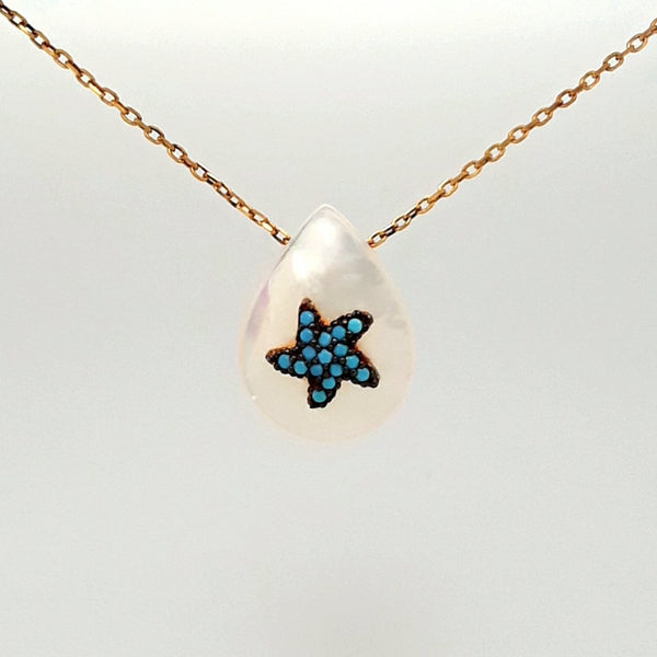 Gemstone and Mother of Pearl Gold  Pendant  - 16 inch