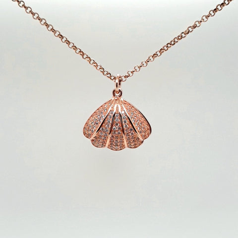 White Pearl in Shell Rose Gold  Pendant  - 16 inch