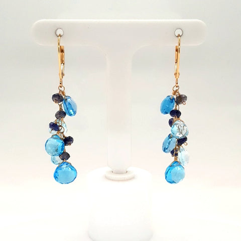 Swiss and London Blue Topaz and Tanzanite 14K Gold Dangle, Lever Back Earrings  - 2 inch