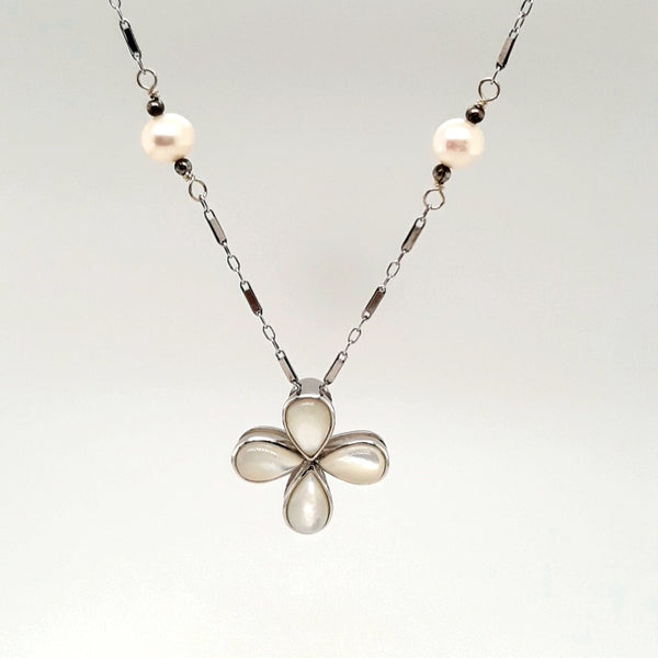 Mother of Pearl and Pearl Sterling  Necklace  - 14 inch