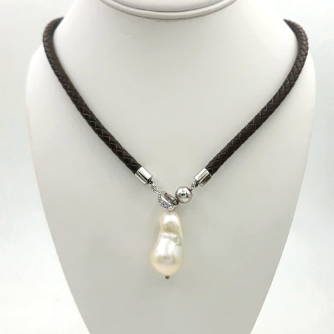 White Baroque Pearl    Necklace  - 18 inch