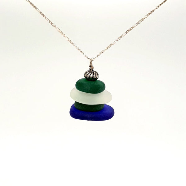 Sea Glass Sterling Pendant with Chain Pendant  - 16 inch
