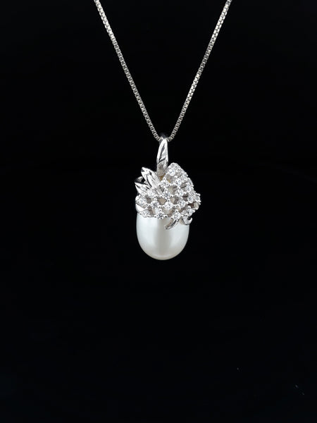 Pearl and White Topaz Sterling Pendant with Chain Pendant  - 14 inch