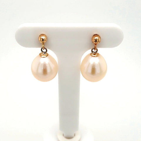 Pearl 14K Gold Post Drop, Dangle Earrings