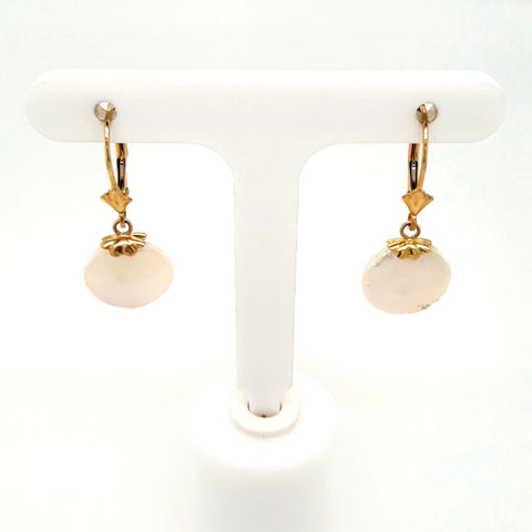 Coin Pearl 14K Gold Dangle, Lever Back Earrings  - 1 1/4 inch