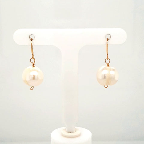 Pearl 14K Gold Dangle, French Hook Earrings  - 1 inch
