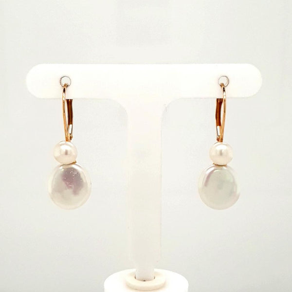 Coin Pearl 14K Gold Dangle, French Hook Earrings  - 1 1/4 inch