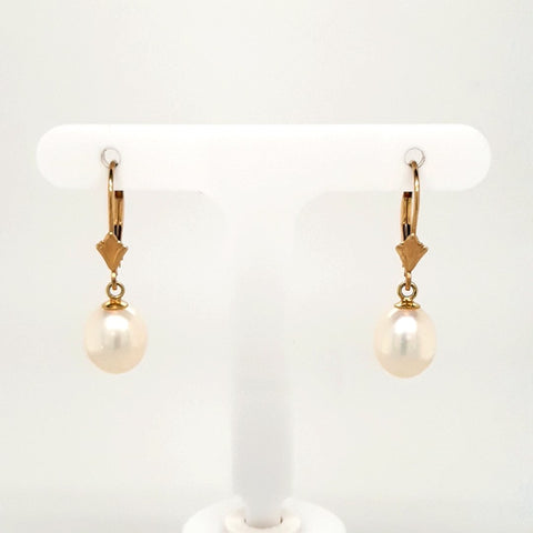 Pearl 14K Gold Dangle, Lever Back Earrings  - 1 inch