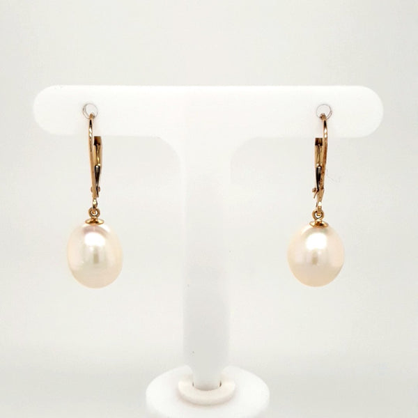 Pearl 14K Gold Dangle, Lever Back Earrings  - 1 1/8 inch