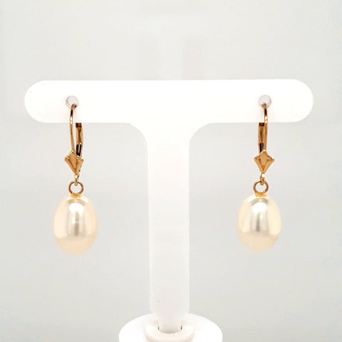 Pearl 14K Gold Dangle, Lever Back Earrings  - 1 1/4 inch