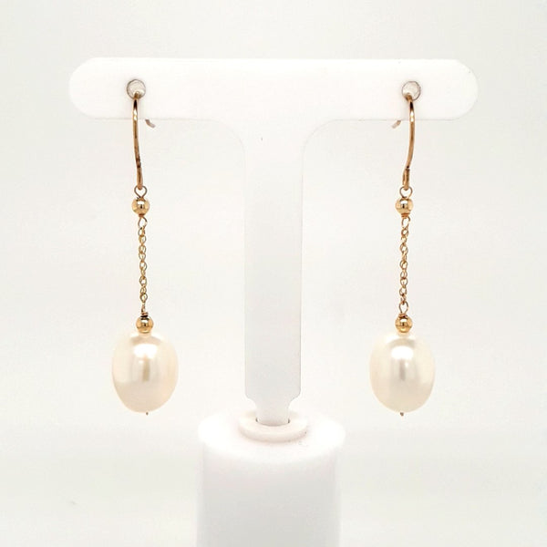 Pearl 14K Gold Dangle, French Hook Earrings  - 1 1/2 inch