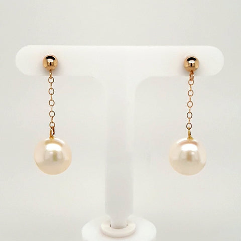 Pearl 14K Gold Post Drop, Dangle Earrings  - 1 1/4 inch