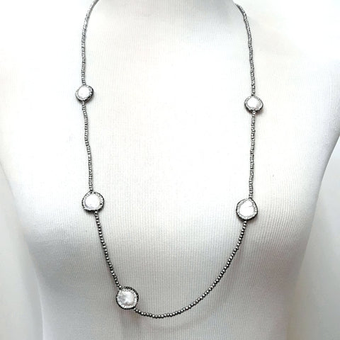 Coin Pearl and Hematite  Station Necklace  - 36 inch