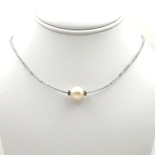 Gemstone and White Pearl Sterling Gem Strand Necklace  - 16 inch
