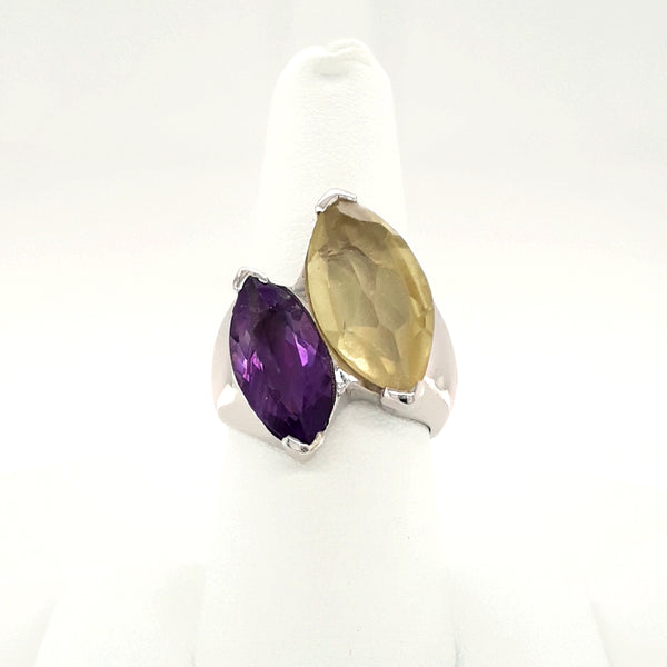 Yellow and Purple Gemstone Sterling Ring - Size 8