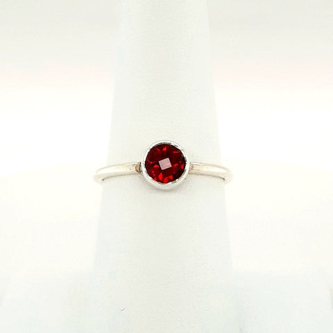 """Strawberry Fields"" -Garnet Sterling Stacking Ring  - Size 7.5"