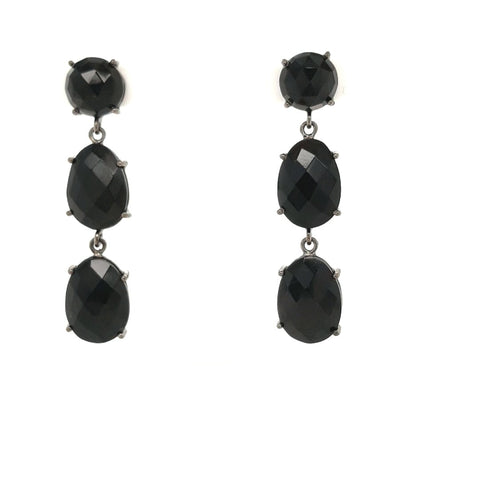 Black Gemstone Rhodium Washed Sterling Post Earrings  - 1 3/4 inch
