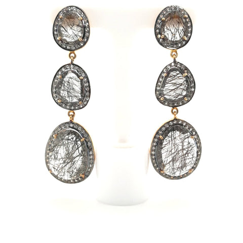 Rutilated Topaz Gold Post Earrings  - 2 1/2 inch