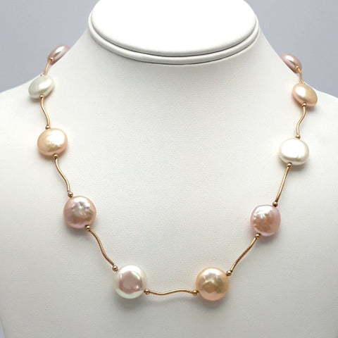 White Coin Pearl 14K Gold Station Necklace  - 18 inch