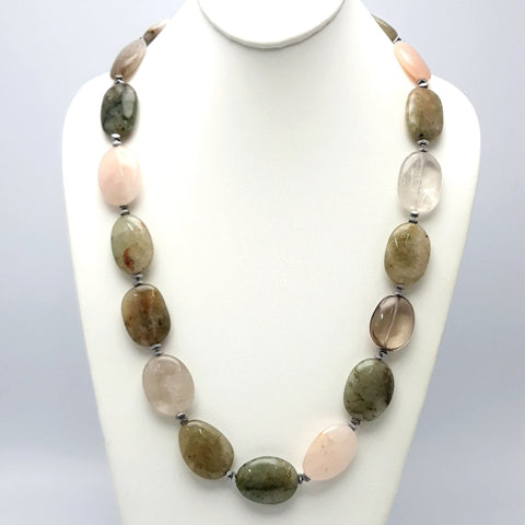 Gemstone Sterling Individually Knotted, Gem Strand, Slab Necklace  - 26 inch