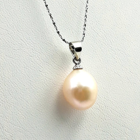 Simple Off White Pearl Sterling  Pendant  - 18 inch