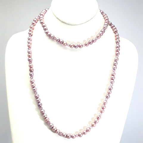 Lavender Pearl and Crystal  Strand Necklace  - 36 inch