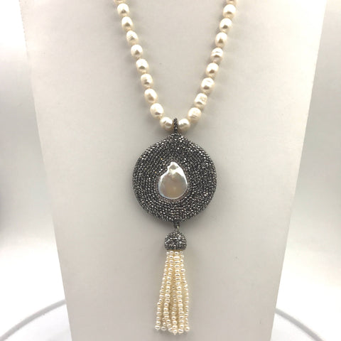 Pearl and Swarovski Tassel Sterling Individually Knotted Necklace  - 20 inch