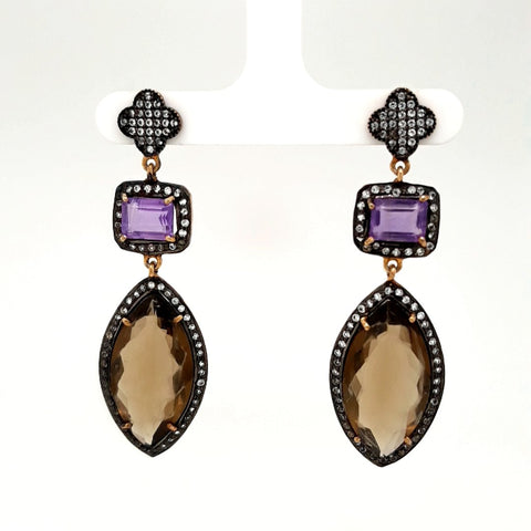Smoky Quartz and Amethyst Sterling Post Drop, Dangle Earrings - 2 1/4 inch