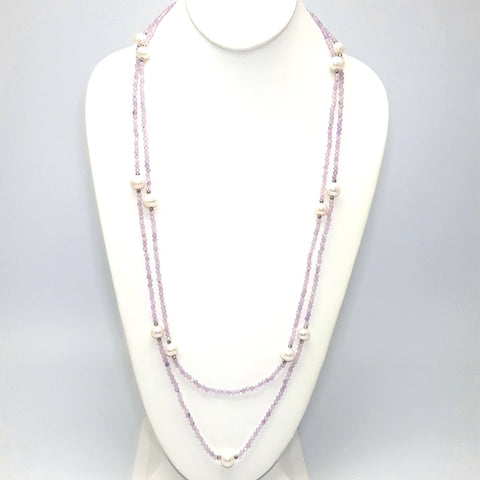 Purple Gemstone and White Baroque Pearl  Station Necklace  - 60 inch