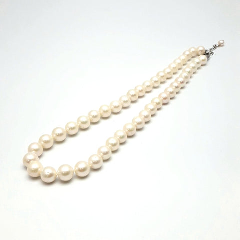White Pearl Sterling Individually Knotted, Strand Necklace  - 20 inch