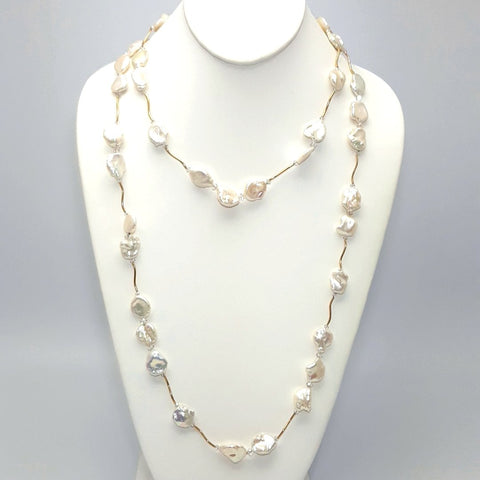 """Golden Hour"" -White Baroque Coin Pearl 14K Gold Station Necklace  - 48 inch"