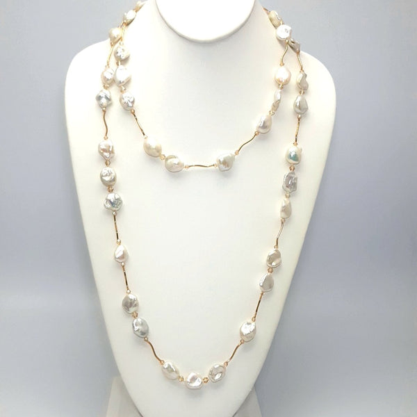 """Illuminating Love"" -White Keshi Pearl and Gem Grade Swarovski Crystal 14K Gold Station Necklace  - 48 inch"