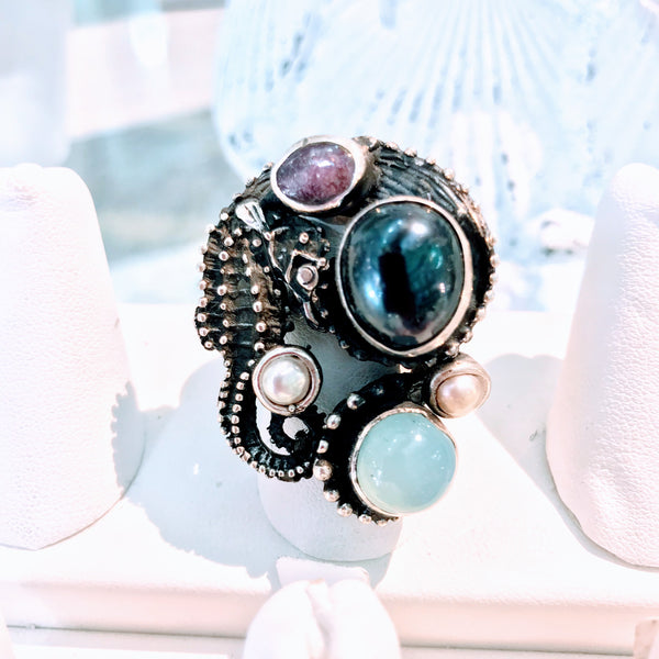 Seahorse and Gemstone Sterling Ring - Size 7