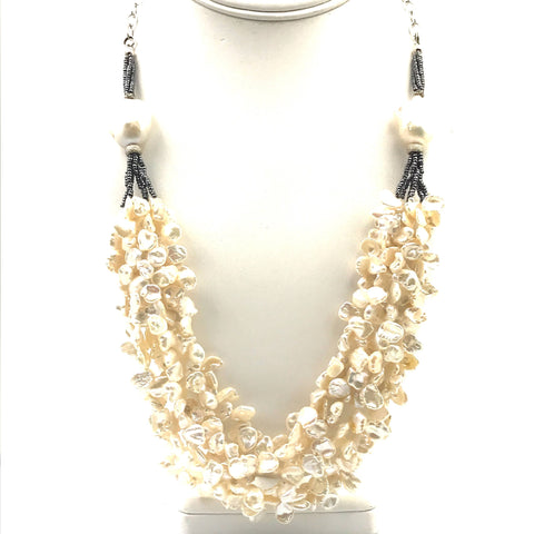Multi Strand Pearl Necklace with Baroques  - 22 inch
